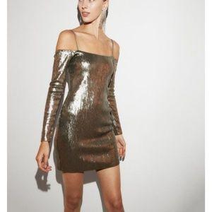 nwt express bronze sequin off shoulder dress L lar